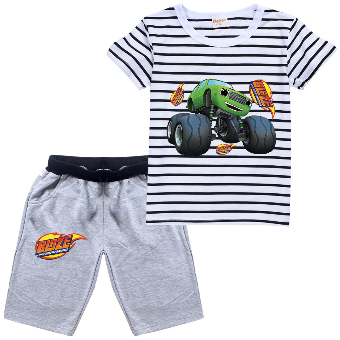 Blaze and The Monster Machines Boy Kids Boutique Clothing Wholesale Cotton Girls Short Sleeve T Shirt Shorts Suit Baby Tracksuit
