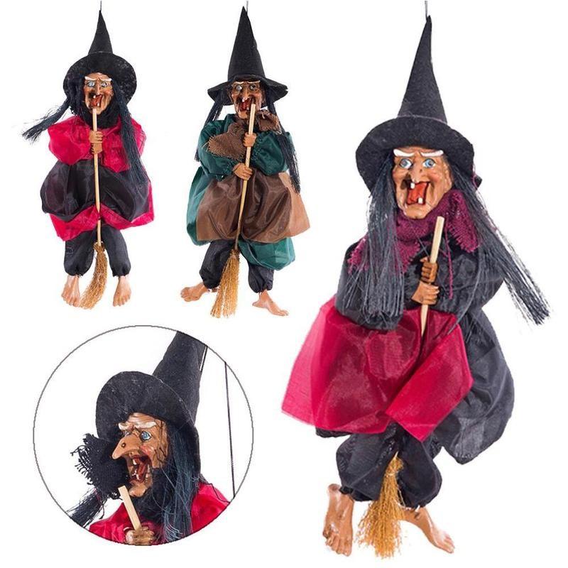 Pendurado Decoração Pingente Enfeites Estatueta Bruxa Halloween Horror Festa Férias Jardim Gramado Decoração Acessórios Horror