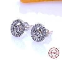hot original 925 sterling silver earring vintage allure with crystal stud earrings 2 in 1 removable earrings women gift jewelry