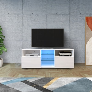 Modern TV Cabinet Living Room with 20 colors LED Lights TV Stand Entertainment Center Modern High-Gloss LED TV Cabinet