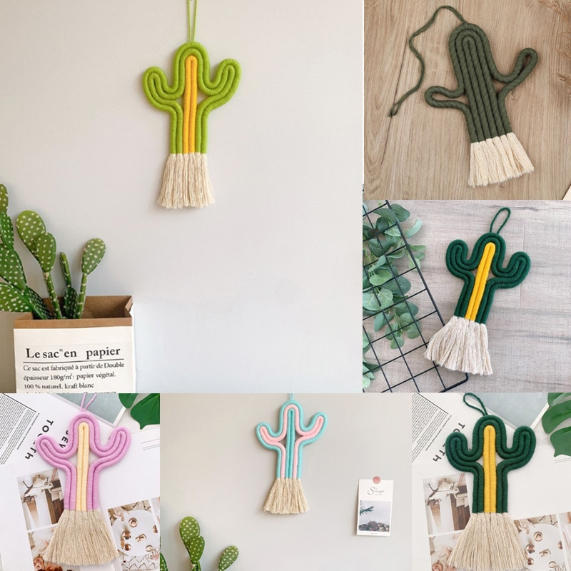 Cactus Tapestry Macrame Wall Hanging Toy Nordic Room Decoration  Handmade Weaving Plants Ornament Boho Baby Kids Decor