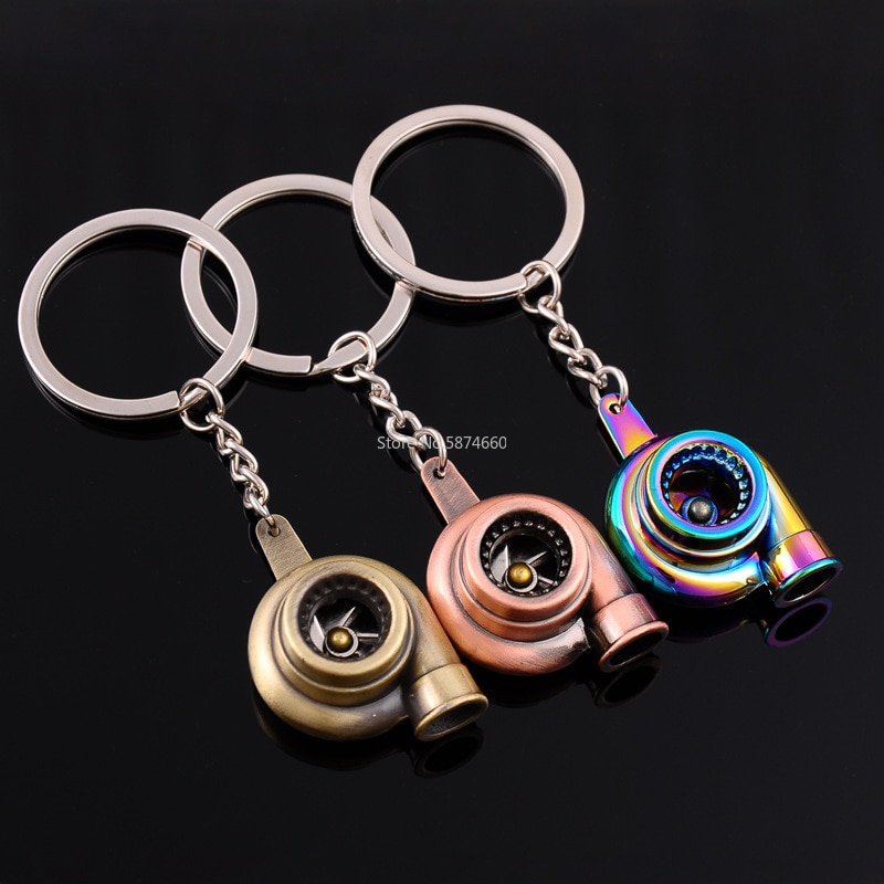 Mini Turbo Turbocharger Keychain Spinning Turbine Key Chain Ring Keyring Keyfob Car Keyring Car Inte