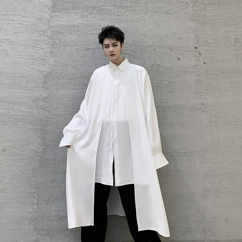 Men 2 Pieces Splice Casual Long Sleeve Shirts Male Streetwear Long Style Fashion Loose Dress Shirts Black White Men Clothing