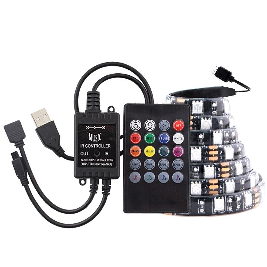 RGB USB 5V Led Strip PC RGB 5050 Waterproof Ambilight USB Led Light Strip 5V Diode Tape Lamp TV Backlight With Music controller