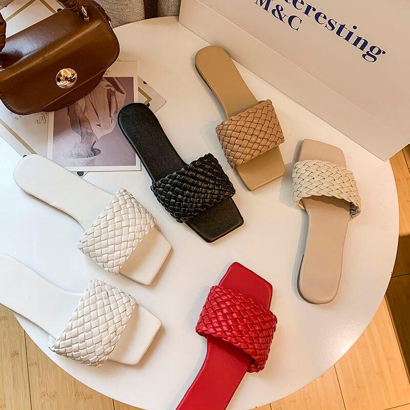 Zapatillas planas de mujer a la moda con puntera cuadrada, zapatos de mujer con entramado, toboganes informales para mujer, cómodas zapatillas abiertas de verano para mujer