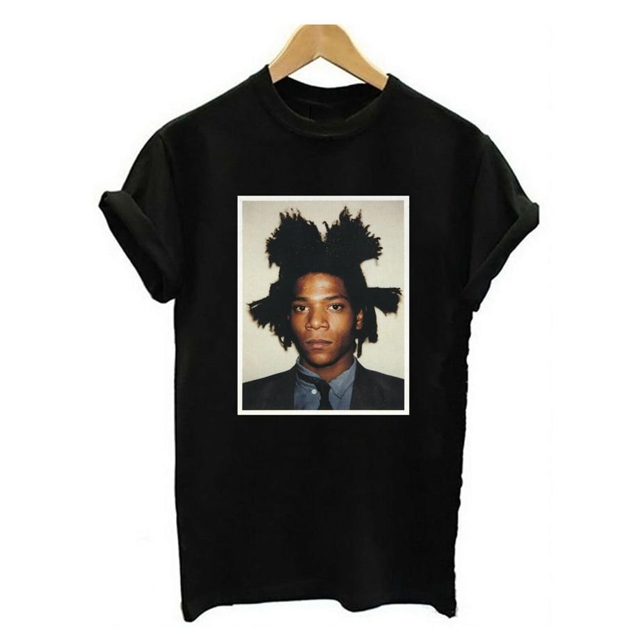 Basquiat color retrato Unisex camiseta lona moderna Hip Hop moda arte feria Diy Prited camiseta