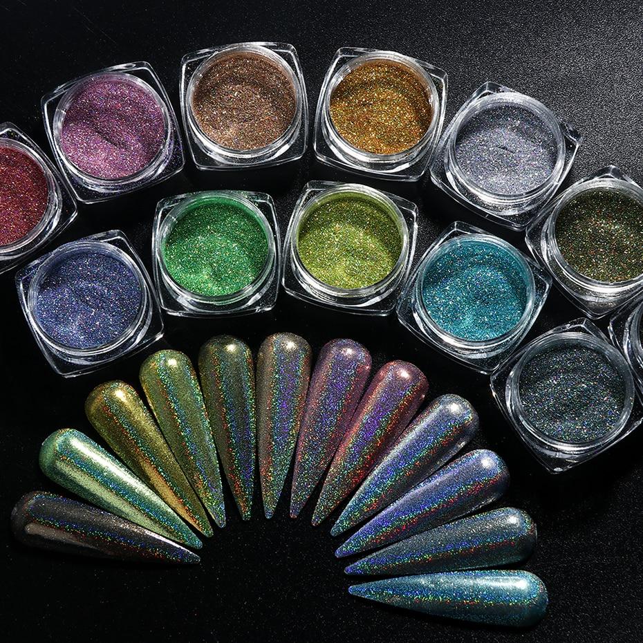 Laser holográfico brilho em pó unha arte pigmento brilhante gradiente mergulho lantejoulas espelho chorme spanglenail polonês poeira LY1028-1