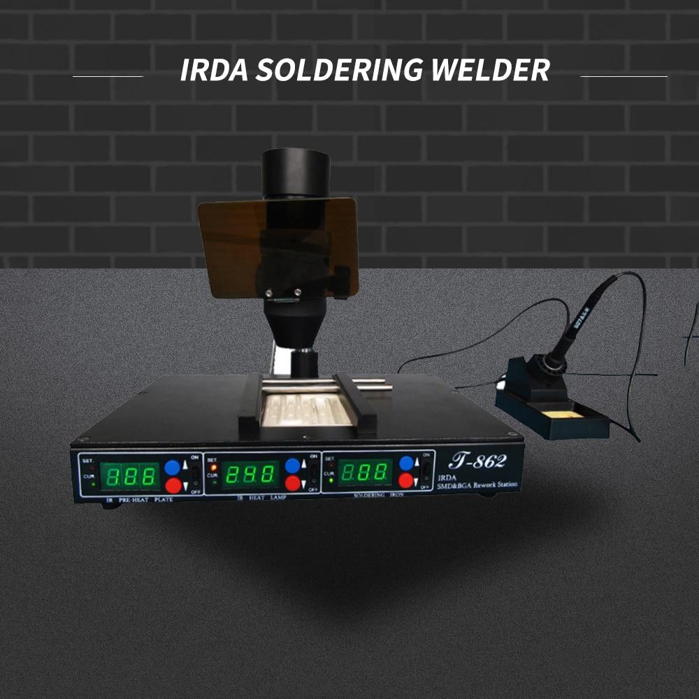أذن PUHUI T-862 IRDA مصلحة الارصاد الجوية بغا محطة إعادة العمل IRDA لحام لحام الأشعة تحت الحمراء SMT لحام آلة إصلاح لحام محطة