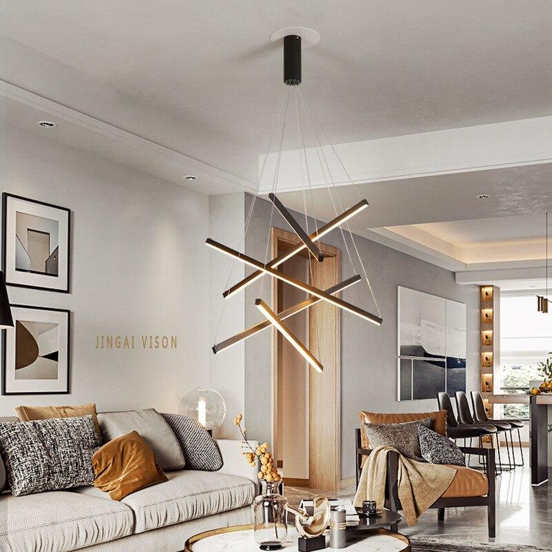 الحديثة الإبداعية الأسود غرفة الطعام LED الثريا الشمال الداخلية الإضاءة غرفة المعيشة المطبخ مصباح الدرج الثريا