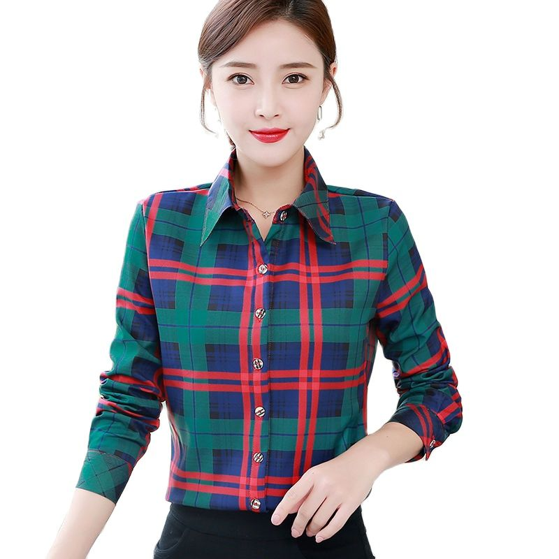 New Classic Orange Check Underclothes Women's Long Sleeve Casual Shirt Girl's Bottom Underlinen Top In Spring And Autumn 2021