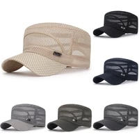 new unisex adjustable flat military cap summer mesh breathable stylish hat fashion sunscreen head cover cap head accessories