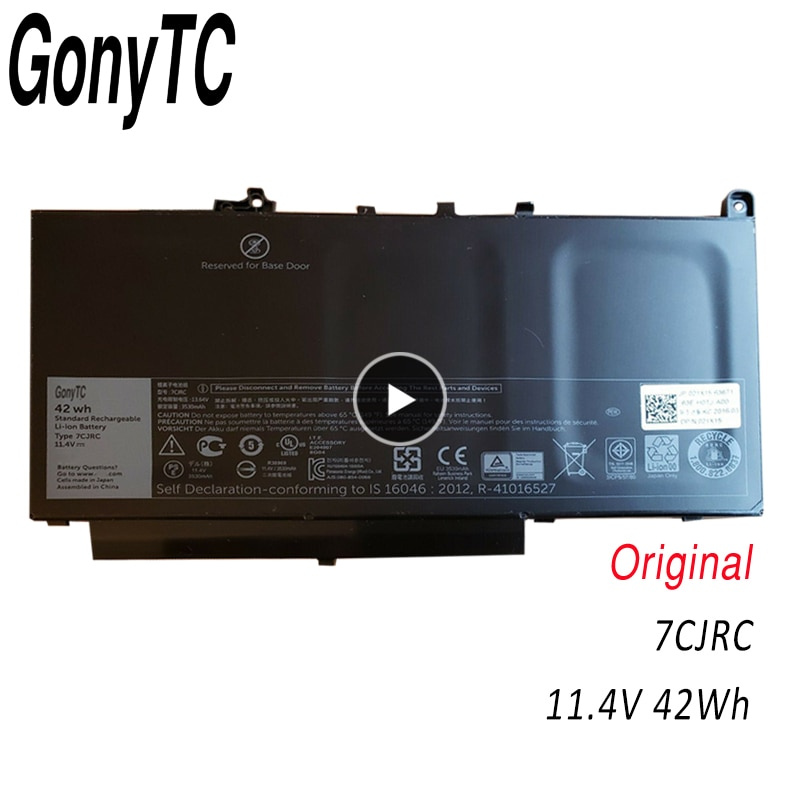 GONYTC 7CJRC 11,4 V 42WH nuevo Original ordenador portátil batería 7CJRC para Dell Latitude E7270 E7470