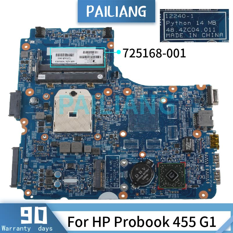 PAILIANG محمول لوحة رئيسية لأجهزة HP Probook 455 G1 اللوحة 725168-001 12240-1 DDR3 tesed