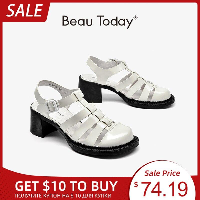 BeauToday-صندل نسائي مصارع من الألياف الدقيقة ، أحذية صيفية ، أحذية رسمية ، مقدمة مستديرة ، بإبزيم ، كعب كتلة ، صناعة يدوية ، 38139