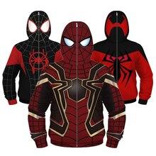 Homem aranha mascarado crianças jaqueta cosplay capitão américa homem de ferro meninos jaqueta com capuz zíper spiderman casual meninos casaco roupas dos miúdos