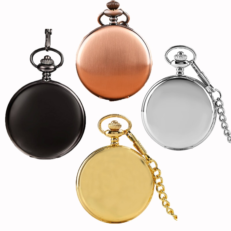 Hot Sale Silver Smooth Quartz Pocket Watch Fob Chain Best Gifts Men Women Fashion Steampunk Roman Numerals reloj de bolsillo