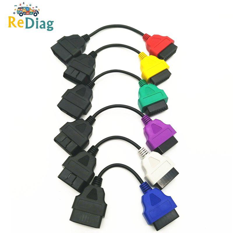 Nuevo 6/4/3 unids/lote OBD2 conector de Cable adaptador de diagnóstico para FIAT ECU escanear y Multiecuscan adaptador para Fiat 6 colores Cables