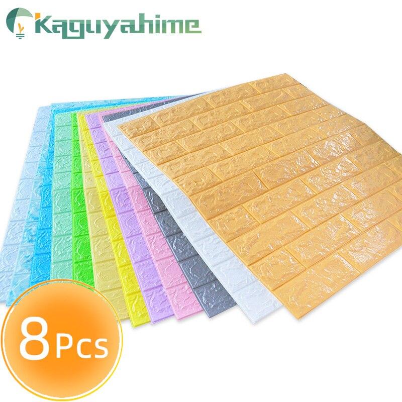 Kaguyahime, 8 Uds., pegatinas de pared 3D, papel tapiz autoadhesivo impermeable, decoración del hogar, papel tapiz de imitación de ladrillo para sala de estar