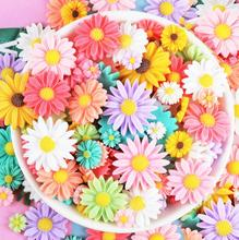 30 pçs 50 pçs multicolorido girassol flatback resina cabochons scrapbook artesanato diy enfeites decoração acessórios