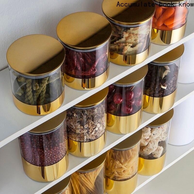 زجاج الجرار مختومة علب مع غطاء المطبخ الغذاء تخزين زجاجات ميسون التوابل الجرار الحلوى تخزين البنوك صندوق الشاي المطبخ تخزين يمكن