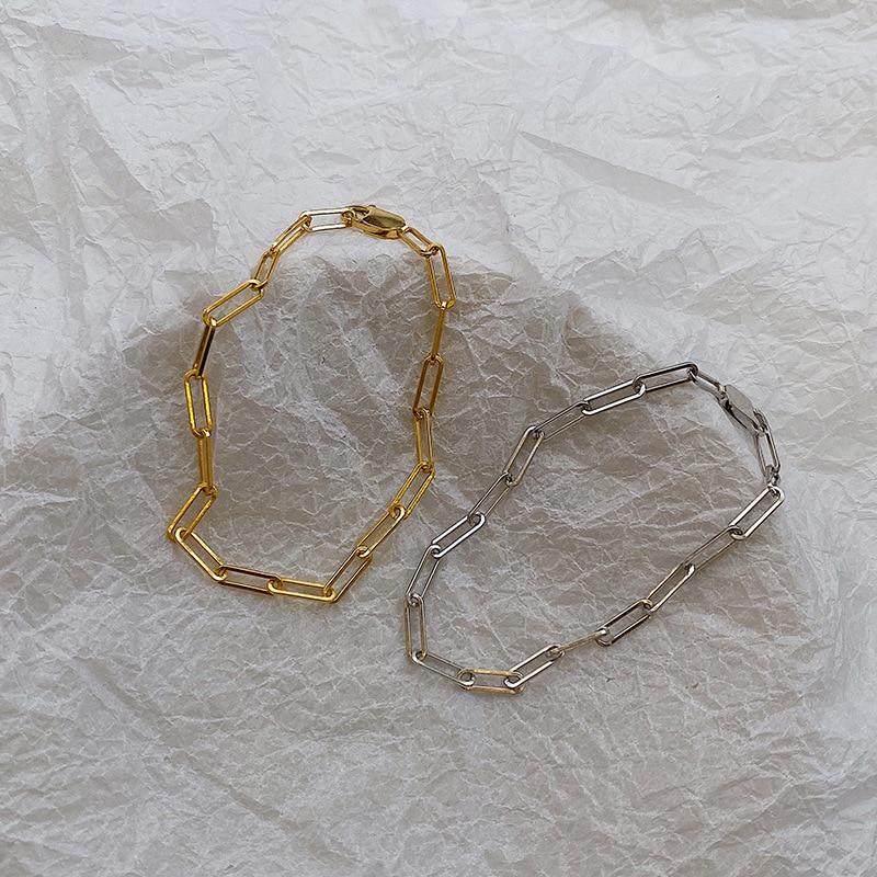 Silvology 925 Sterling Silver Wide Chain Bracelets for Women Temperament Minimalist Cold Style Match Cuff Bracelets Fine Jewelry