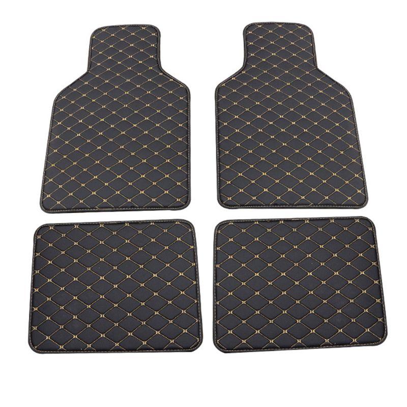 Universal Fit 4pcs PU Leather Car Floor Mat Waterproof Foot Pads Protector Q9QD