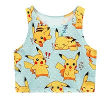 Sexy filles Cosplay Pokemon Pikachu imprimer été Harajuku Costume Pokemon poche monstre dessin animé hauts gilet débardeur chemise 13 Styles