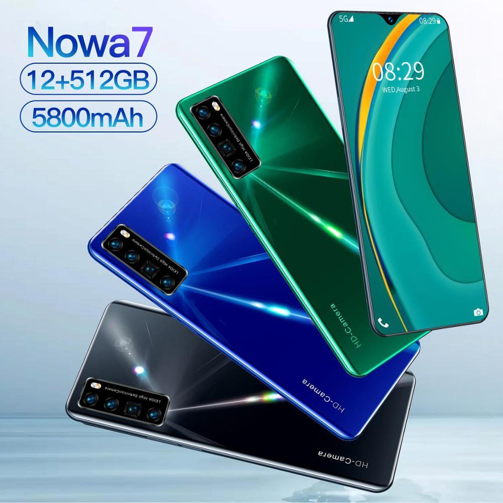 Nowa7-الهاتف المحمول العالمي 6.8 بوصة ، Snapdragon 855 ، 12 جيجا بايت رام ، 512 جيجا بايت روم ، 10 كور ، 5800 مللي أمبير ، أندرويد 10 ، 5G ، متوفر