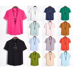 Men Clothing  T Shirts Camisetas Hombre Plus Size T Shirt Men Summer Cotton Linen Short Sleeve Retro Beach Casual Top(No neckla)
