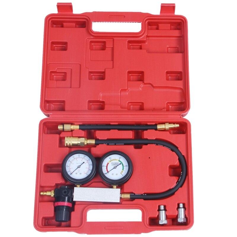 Probador de cilindros, Detector de compresión de motor, juego de calibradores de prueba de fugas y funda roja