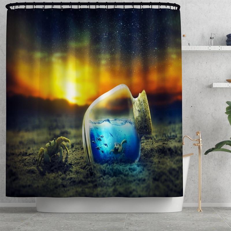 Shower Curtain with Bath Mat Set 3D Ocean Animal Anti Slip Bath Mats Bathroom Carpet Toilet Seat Cover Washable Floor Mat Decor enlarge