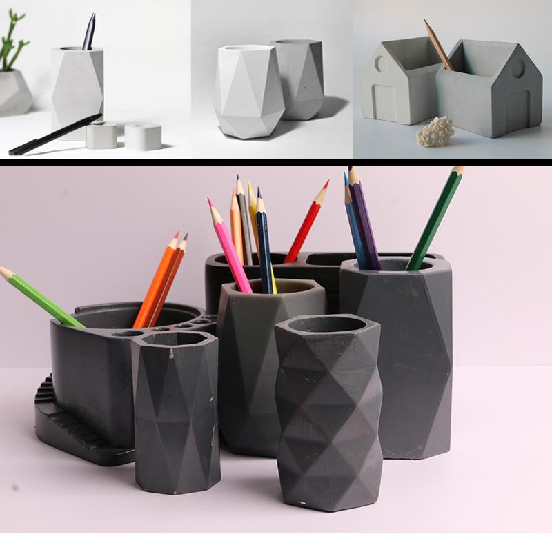 Creative geometry polygon, portalápices de hormigón, molde de silicona para decoración de oficina, molde para yeso de tiesto, portalápices