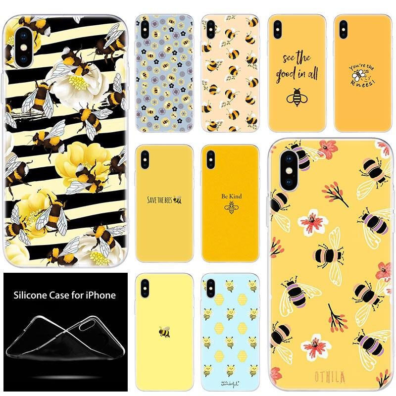 Funda de silicona blanda de lujo para teléfono, bonita funda de Bumble Bee feliz para Apple iPhone 11 Pro XS Max X XR 6 6S 7 8 Plus 5 5S SE, funda de moda