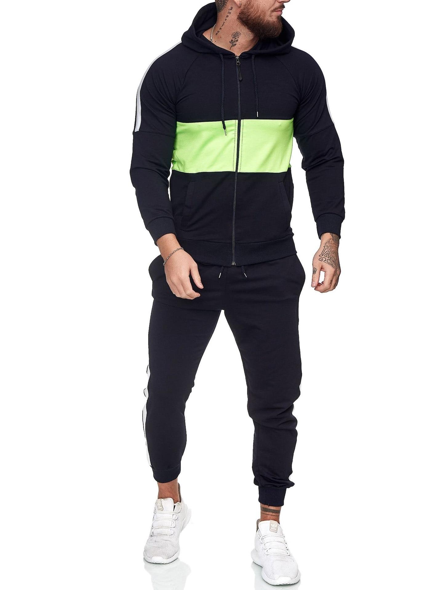 Мужской осенне-зимний новый мужской спортивный костюм с капюшоном и длинными рукавами модный мужской повседневный костюм для фитнеса