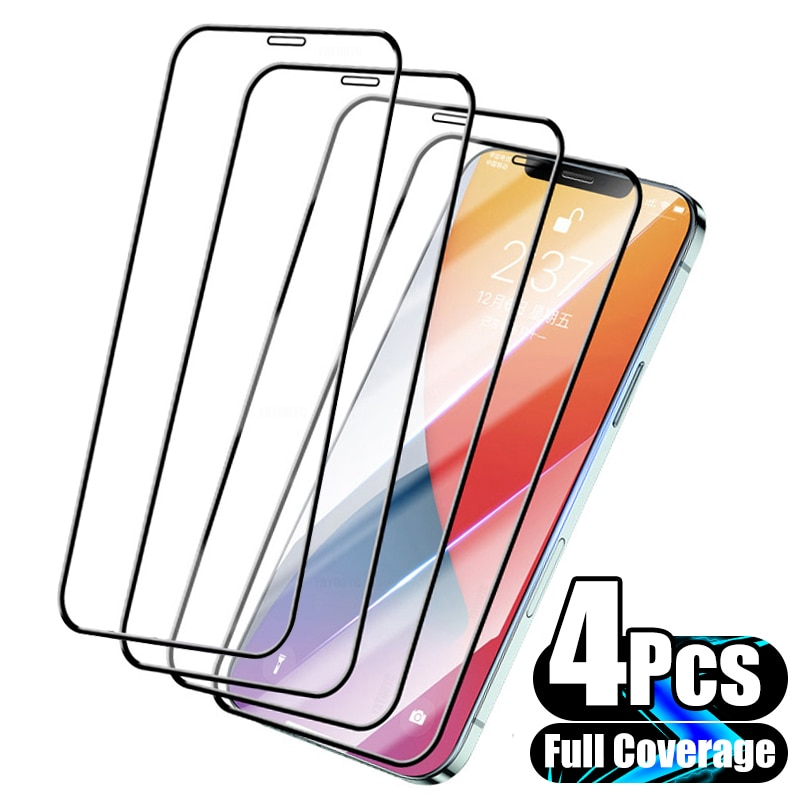 4Pcs Full Cover Protective Glass for iPhone 13 11 12 Pro Max Screen Protector for iPhone X XS Max XR 13 Mini Glass