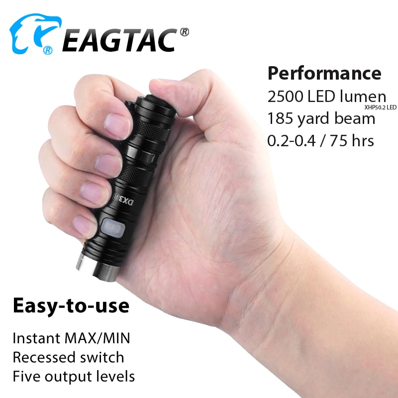 EAGTAC DX3B RC PRO USB Rechargeable XHP50.2 2500LM Super Powerful LED Flashlight Mini Pocket Torch EDC Lamp 18350 Included enlarge