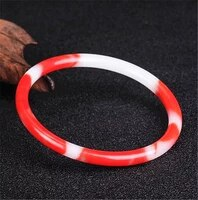 genuine natural red white jade bracelet bangle chinese jadeite carved fashion charm jewelry accessories amulet women men gifts