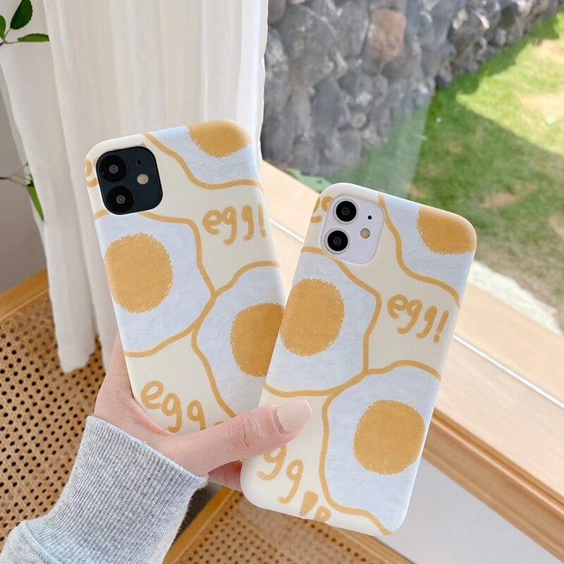 Funda de teléfono para iPhone X XS XR 11 Pro MAX, funda trasera suave para iPhone 7 8Plus, funda de teléfono SE2 con bonita Flor de huevo