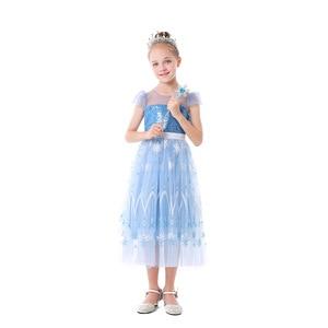 2021 Christmas Blue Princess Tutu Mesh Dress Halloween Costume for Girls