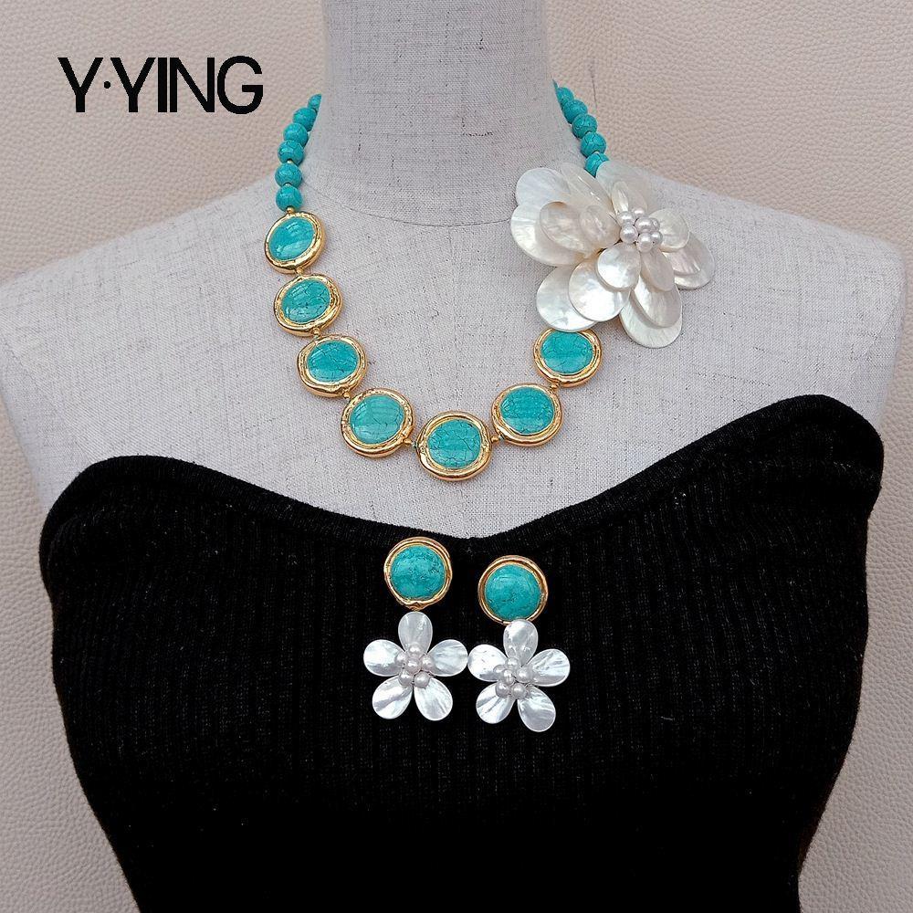 Y · ينغ الأزرق الفيروز الأبيض شل موصل جوكر قلادة طقم من الحلقان