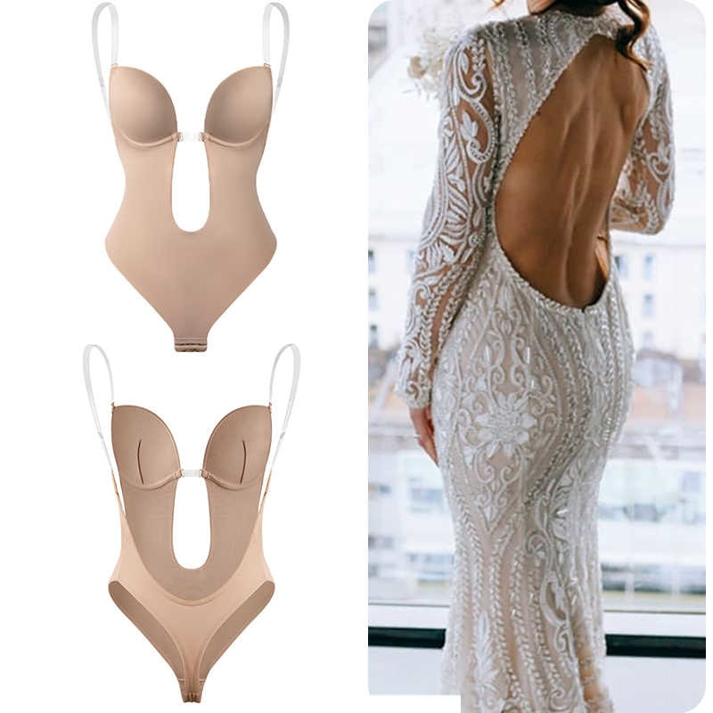 Bodysuit Shapewear V-neck Body Shaper Backless U Plunge Thong Shapers Taille Trainer Women Clear Strap Padded Push Up Corset