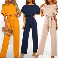 jumpsuit casual short sleeve solid color playsuit round neck high waist elegant lace up jumpsuit romper 2020 top womens summer
