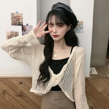 Summer Loose Pullover Sweet Style Thin Hollow Knitted Sun Protection Shirt Women's Short Outer Wear