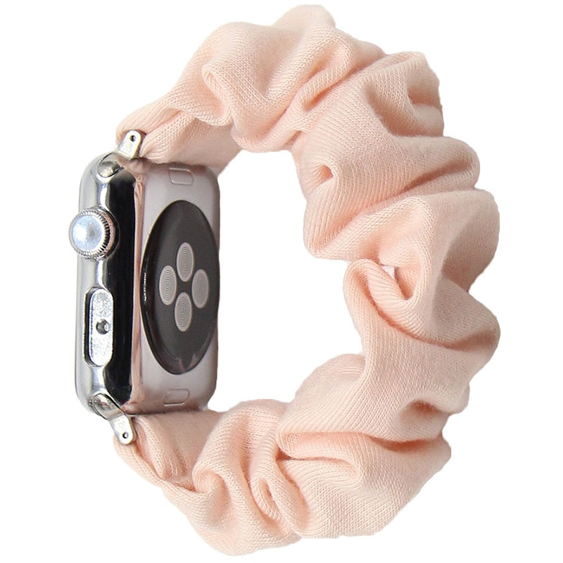Cotton Elastic Scrunchies Smart Apple Watch Band 5 4 42mm 38mm For Girls Women Cotton Bands 40mm Ser