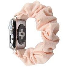 Scrunchies elásticos de algodón para Apple Watch, banda para Apple Watch inteligente 5 4 42mm 38mm para niñas y mujeres, bandas de algodón de 40mm serie 5 4 3 2 1 44mm 40mm