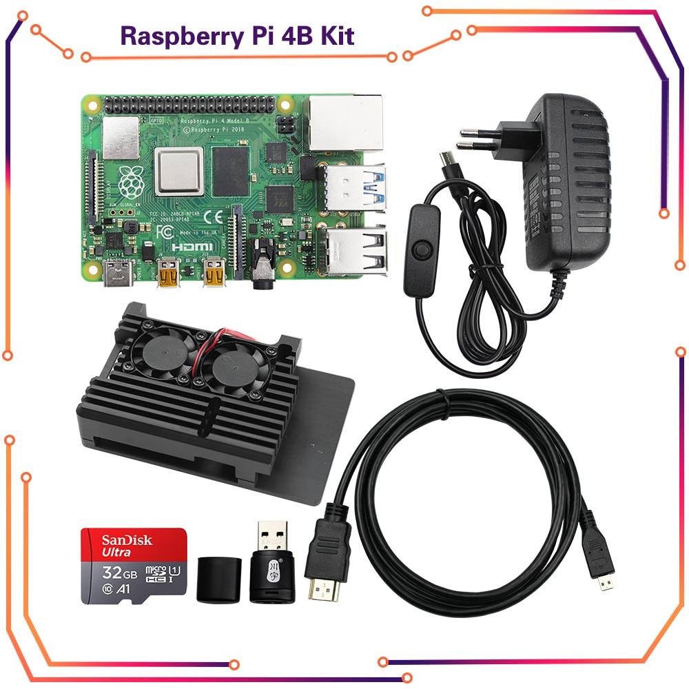 Original Raspberry Pi 4 Model B 2GB 4GB 8GB Kit + Aluminium Case + 3A Switch Power +HDMI Cable Option 64 32GB SD Card Reader