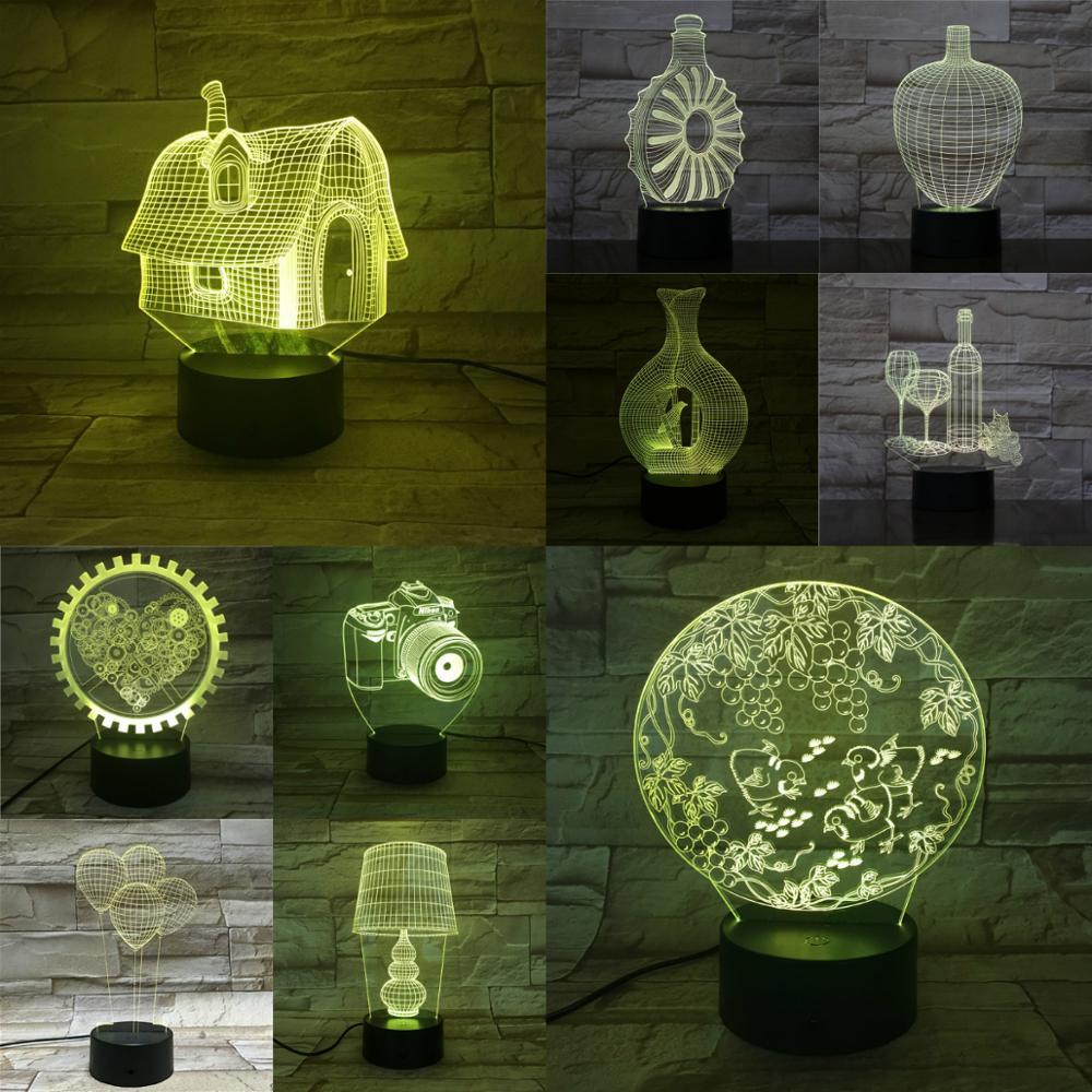 Home 3D Lamp Wine Bottle House Ballon Camera Luminaria Acrylic Plate Children Creative Beautiful Birthday Present Luces Led Deco