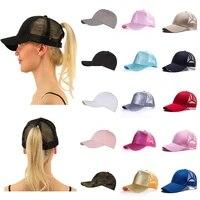 glitter ponytail baseball cap womens messy bun adjustable snapback hip hop hat messy bun summer hat female hip hop hats