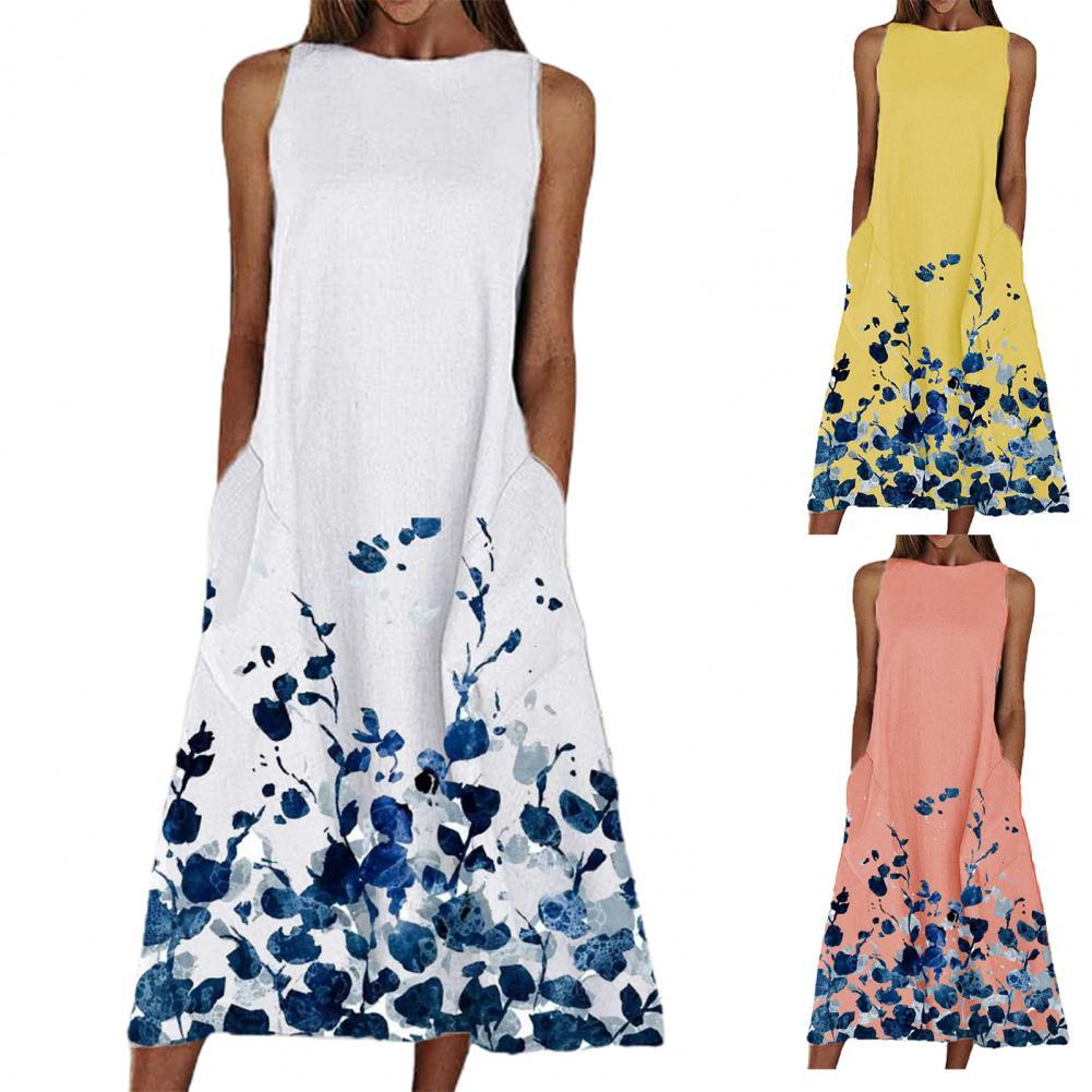 Women Floral Print Maxi Dress Summer Boho Loose Sleeveless Pockets Dress Ladies Beach Party Long Dresses Plus Size Vestidos