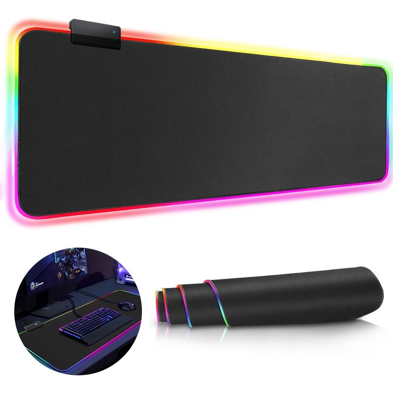 Игровой коврик для мыши, RGB коврик для мыши, геймерские коврики для мыши, большой Настольный коврик для мыши, RGB коврик для мыши со светодиодн...